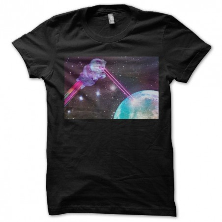 Space cats t-shirt, black space cats Earth attack sublimation