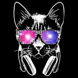 tee shirt Cat lunette reflet galaxie  sublimation
