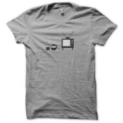 tee shirt coffe and tv blur...