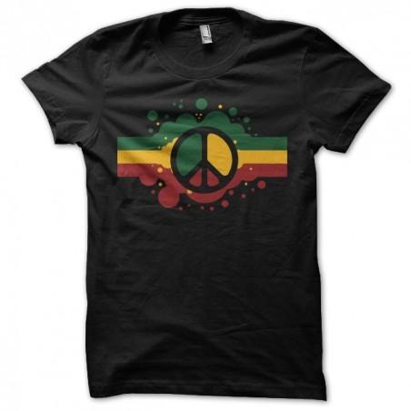 Rasta t-shirt Peace and Love artwork black sublimation