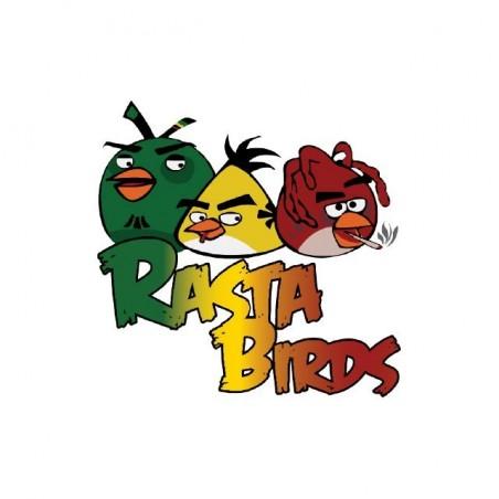 T-shirt Angry Birds parody Rasta Birds white sublimation