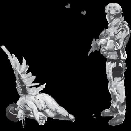 Tee shirt Banksy Ange soldat artiste tee shirt street art  sublimation