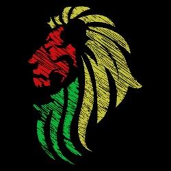 t-shirt lion colors rasta black sublimation