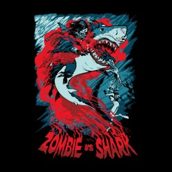 tee shirt Zombie vs requin  sublimation