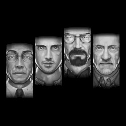tee shirt Breaking bad multi faces black sublimation