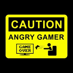 tee shirt caution angry gamer black sublimation