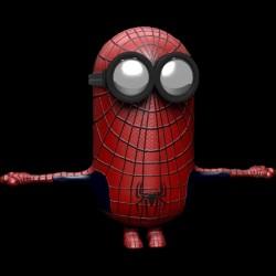 tee shirt Minion Spiderman black sublimation