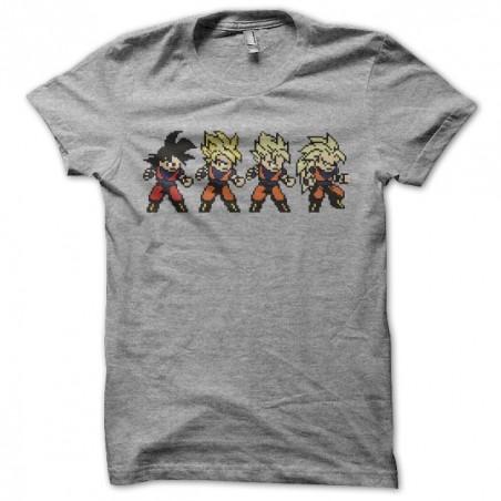 Tee shirt Son Goku evolution pixel art gris sublimation