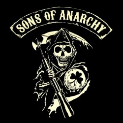 t-shirt sounds of anarchy logo trefle black sublimation