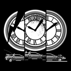 T-shirt clock back to the future black sublimation