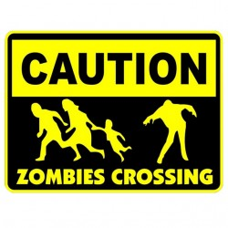 tee shirt caution zombies crossing white sublimation