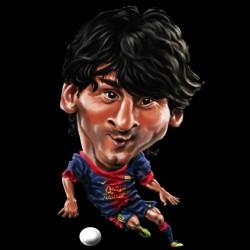 Lionel Messi cartoon black sublimation t-shirt