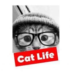 Cat life white sublimation t-shirt