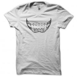white sublimation vampire smile tee shirt