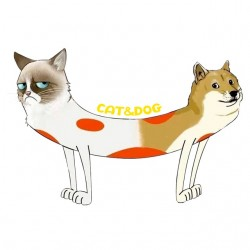 T-shirt cat and dog siamese...
