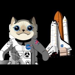 tee shirt cata parody cat astronaut black sublimation