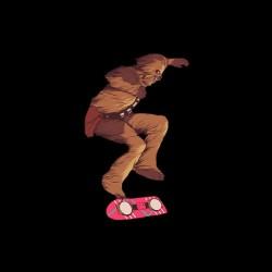 tee shirt chewbacca skateboard de marty mcfly  sublimation