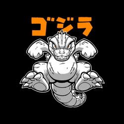 godzilla t-shirt in black cartoon sublimation