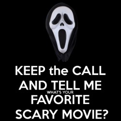 tee shirt keep the call and tell me what's your favorite scary movie black sublimation