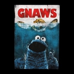 tee shirt cookie monster gnaws parody black sublimation