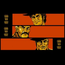 good the bad and the ugly t-shirt black sublimation cartoon poster