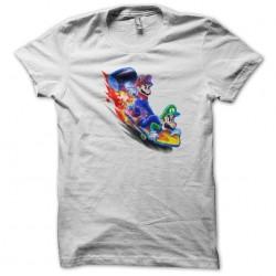 t-shirt skateboard mario and luigi white sublimation