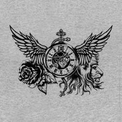 t-shirt lion tattoo gray sublimation