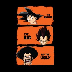 t-shirt DBZ characters parody the good the brute and the ugly black sublimation
