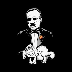 t-shirt the godfather and his cat garfield black sublimation