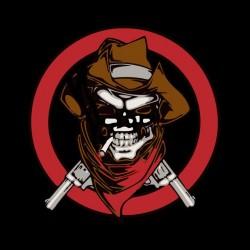 tee shirt skull cowboy black sublimation