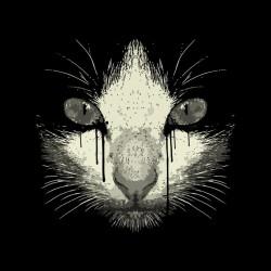 black sublimation graphic cat tee shirt