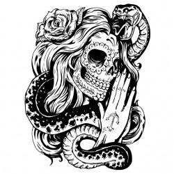 T-shirt tattoo pin up skull...