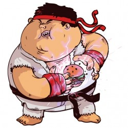 obese Ryu white sublimation t-shirt