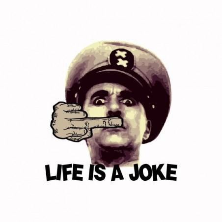 Life is a joke parody t-shirt Chaplin white sublimation