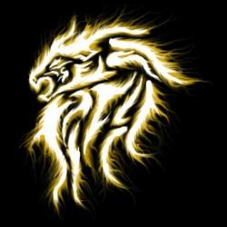 t-shirt flaming lion art black sublimation