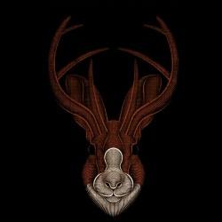 tee shirt deer design art black sublimation