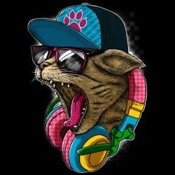 cat shirt hiphop design black sublimation