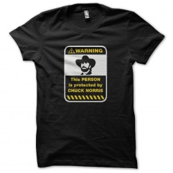 Warning sign Protected t-shirt by Chuck Norris black sublimation