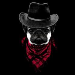 Cowboy Pug t-shirt black sublimation