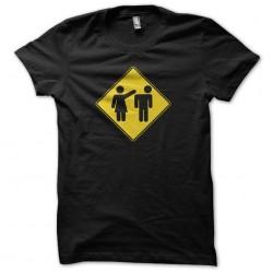 Tee shirt panneau attention femme violente  sublimation