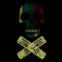 tee shirt tv skull black sublimation
