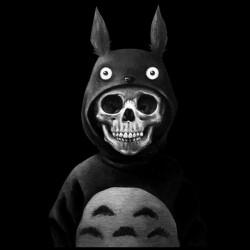 tee shirt skull totoro black sublimation