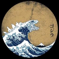 t-shirt hokusai gojira black sublimation