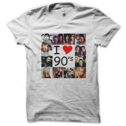 tee shirt I love 90 white sublimation
