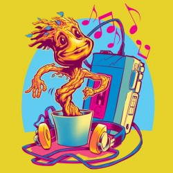 GROOT music yellow sublimation t-shirt