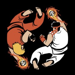 tee shirt yin yang street fighter  sublimation
