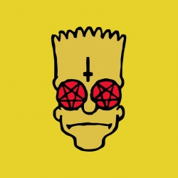 t-shirt bart simpson satanist yellow sublimation