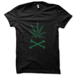 tee shirt weed skull black...