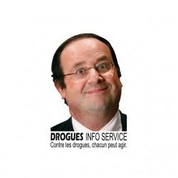 François Hollande t-shirt parody Drug Info Service white sublimation