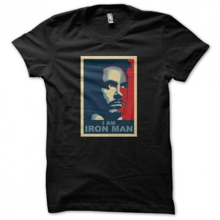 I AM IRONMAN obama style black sublimation t-shirt